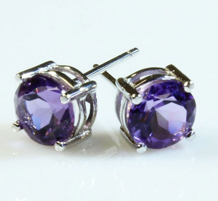 Natural Amethyst 3.60ctw Earring 14kt White Gold
