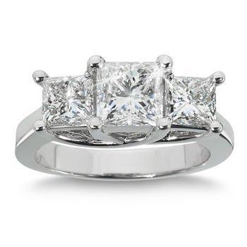 Genuine 3.00 ctw Princess cut Three Stone Diamond Ring,
