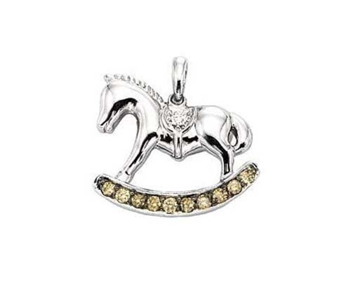 14K White Gold Rocking Horse Pendant; 15pts  Diamonds
