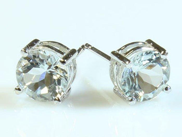 Natural Aqua Marine 7.00ctw Earring 14kt White Gold