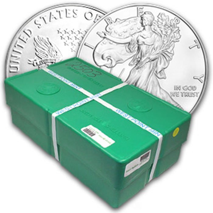 2012 Uncirculated Silver Eagle 500-Coin Monster Box Wes