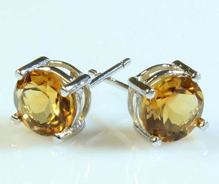 Citrine 2.60 ctw Stud Earring 10kt White Gold