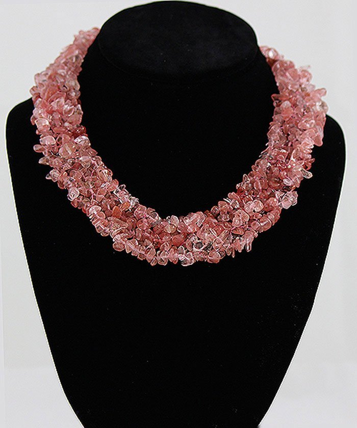 "18"" Twisted Rose Coral Chipped Stone Necklace"
