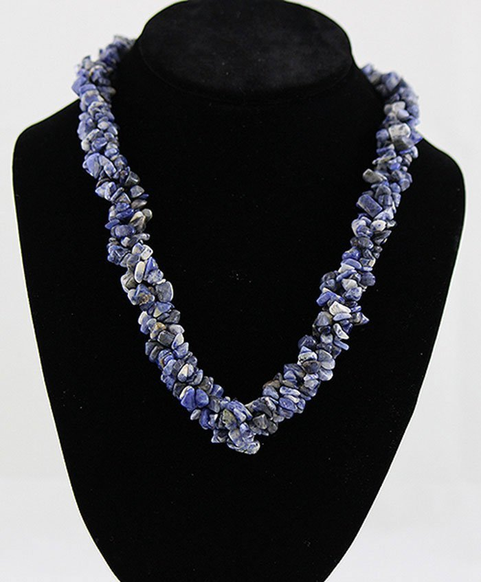 "18"" Twisted Lapis Chipped Stone Necklace"