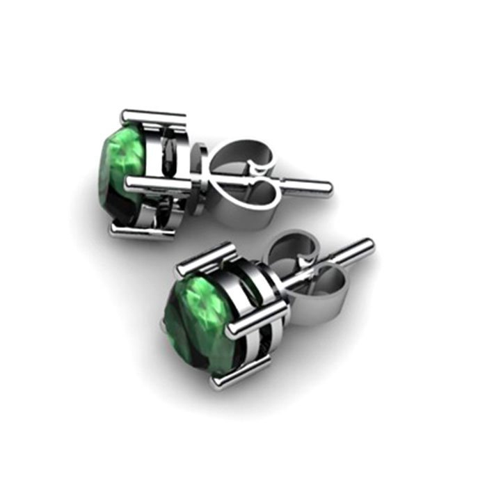 Emerald 3.40 ctw Stud Earring 10kt White Gold