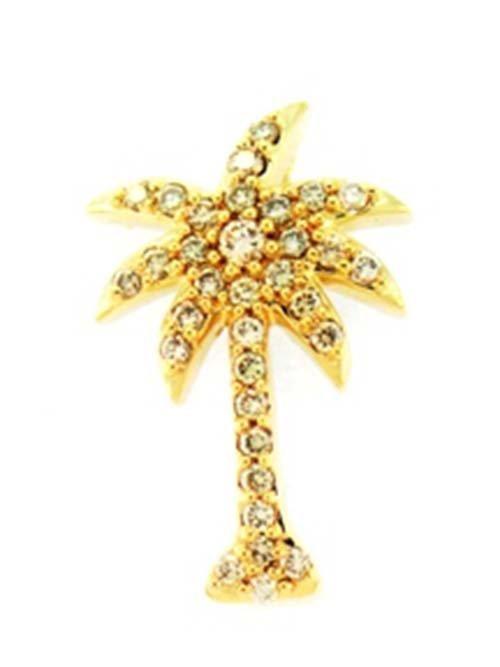 14K Yellow Gold Palm Tree Pend; 0.20CTW Diamond