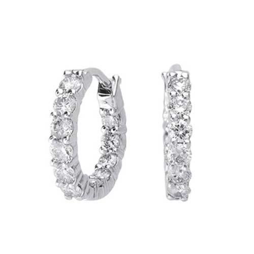 14K White Gold Hoop Earring; 42pts Diamond; 63pts
