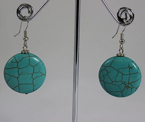 Sterling Silver Crackled Turquoise Earring