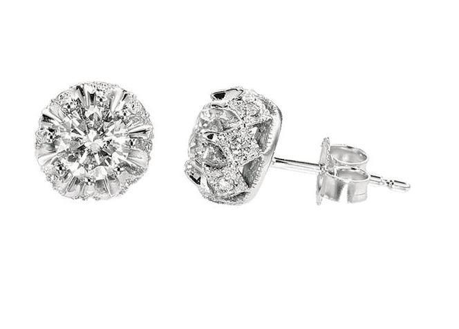 14K White Gold Studd Earring; 1ct Diamond