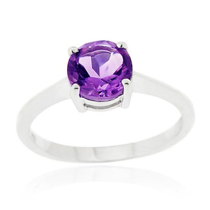 Natural Amethyst 0.70ctw Ring 14kt White Gold