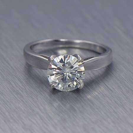 Genuine 0.25 ct Round cut Diamond Solitaire Ring, I-J,