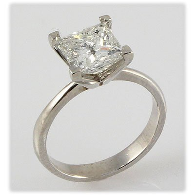 Genuine 0.50 ct Princess cut Diamond Solitaire Ring,