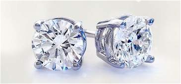 Genuine 3.00 ctw Round cut Diamond Stud Earrings I-J,