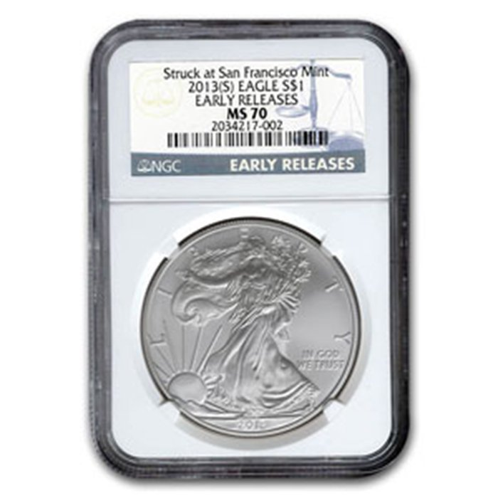 2013 (S) Early Releases Silver American Eagle MS-70 NGC