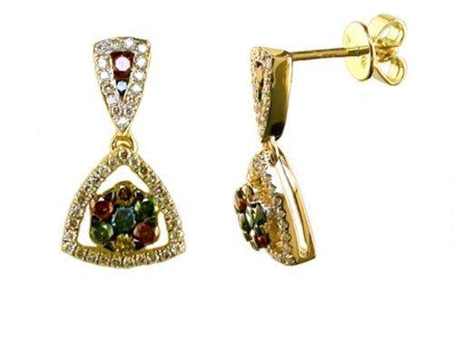 0.92 ctw Multi Colored Diamond Earrings 14kt Yellow