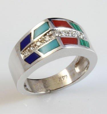14kt White Gold 1.18 ctw Diamond & Enamel Ring