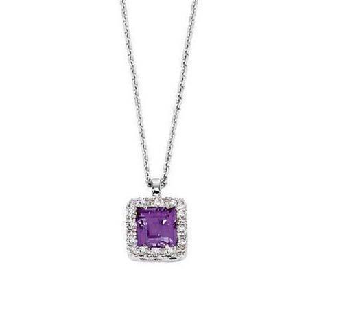 14K White Gold Necklace; 6pts Diamond; 60pts   Amethyst
