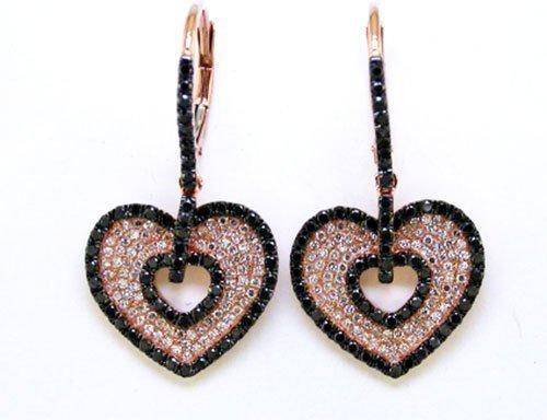 1.60 ctw Black & White Diamond Earrings 14kt Rose Gold