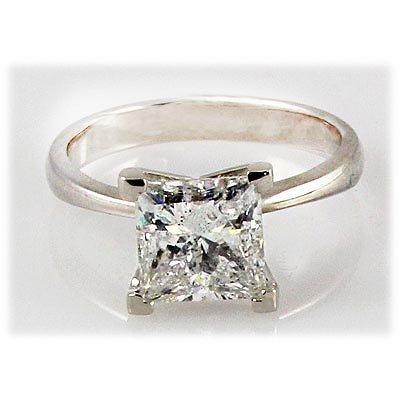 Genuine 1.00 ct Princess cut Diamond Solitaire Ring,