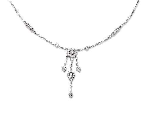 14K White Gold Necklace; 60pts  Diamond