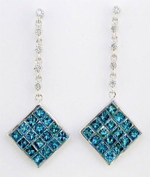 2.29 ctw Blue & White Diamond Earrings 14kt White Gold