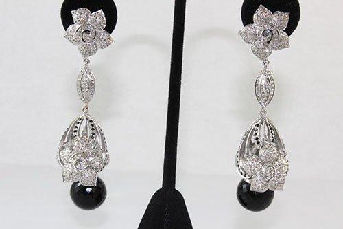 Gold & Silver Onyx & Black Diamond  Earrings 3.41 cts.