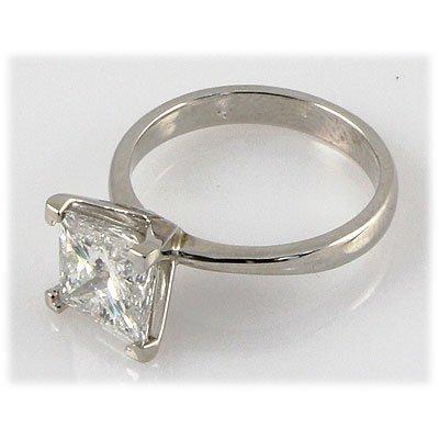 Genuine 0.75 ct Princess cut Diamond Solitaire Ring,