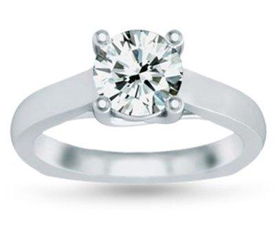 Genuine 0.90 ct Round cut Diamond Solitaire Ring, G-H,