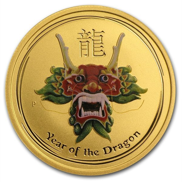 2012 1/2 oz Green Colored Gold Lunar Year of the Dragon