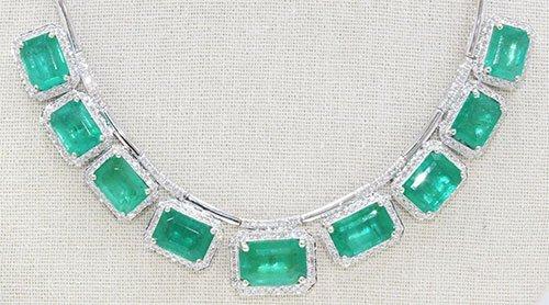 Columbian Emerald 49.17 ctw & Diamond Necklace 14kt