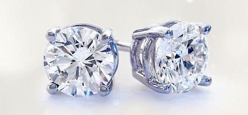 Genuine 1.25 ctw Round cut Diamond Stud Earrings G-H,
