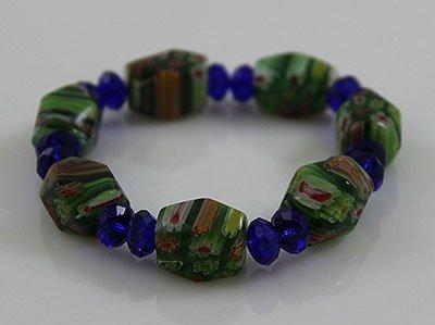 FlowerPrint GreenDécoupage&Blue Faceted Glass Bead