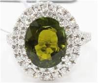 Natural Green Tourmaline 6.06 ctw & Diamond 14kt White