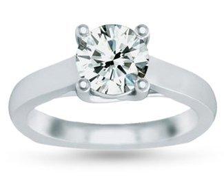 Genuine 0.75 ct Round cut Diamond Solitaire Ring, G-H,