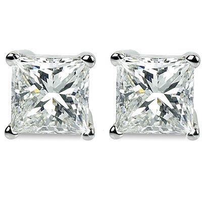 Genuine 0.66 ctw Princess cut Diamond Stud Earrings
