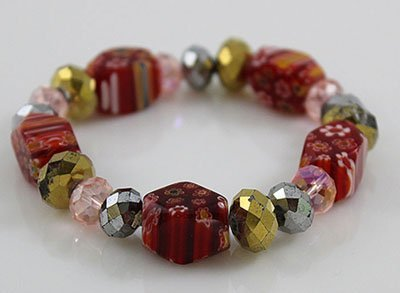 FlowerPrint Red Découpage&Assorted Faceted Glass Bead