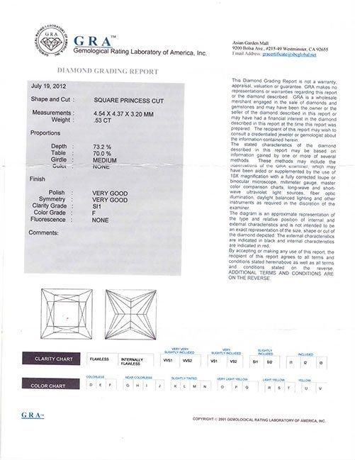 GRA Princess Cutr Diamond 0.52 ct F,SI1 - 2