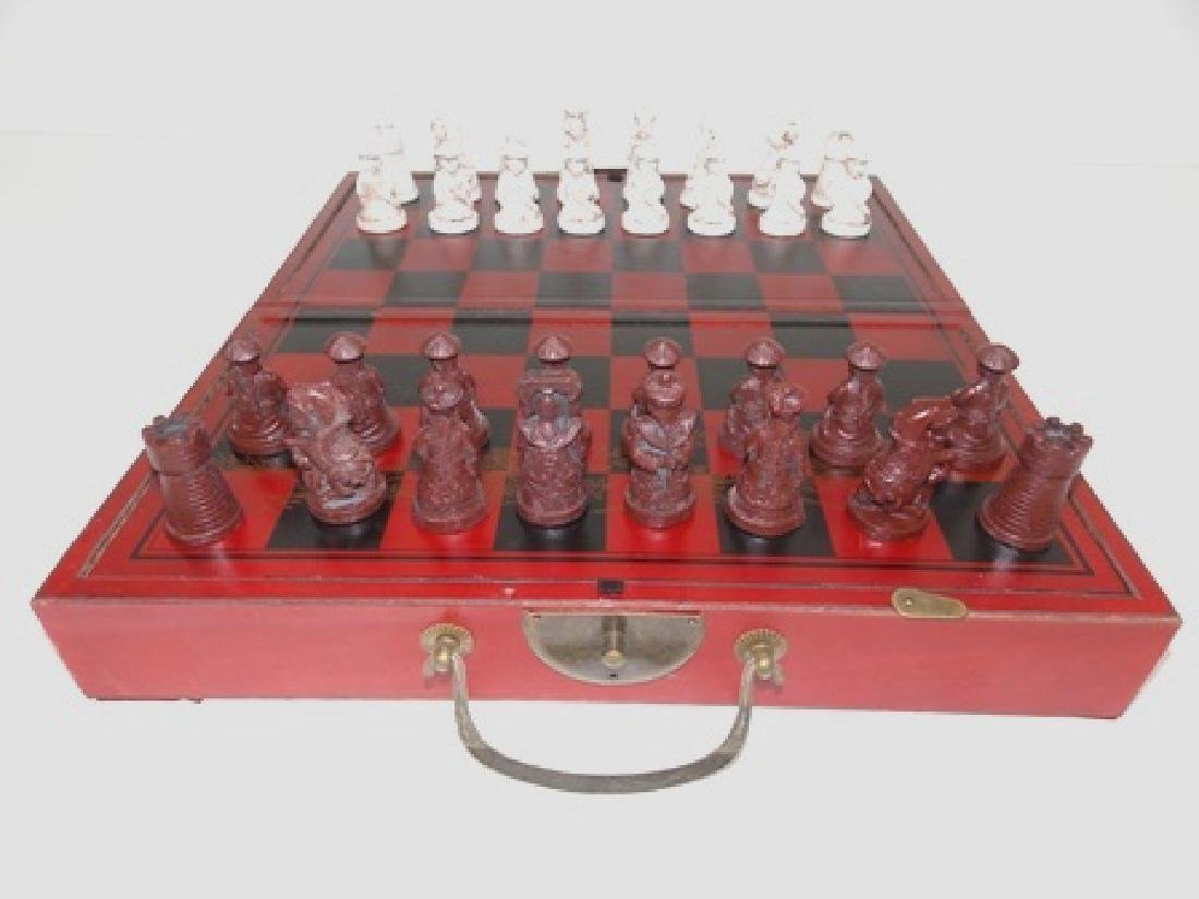 CHINESE MOTIF CHESS SET W/ FAUX IVORY PIECES - 3