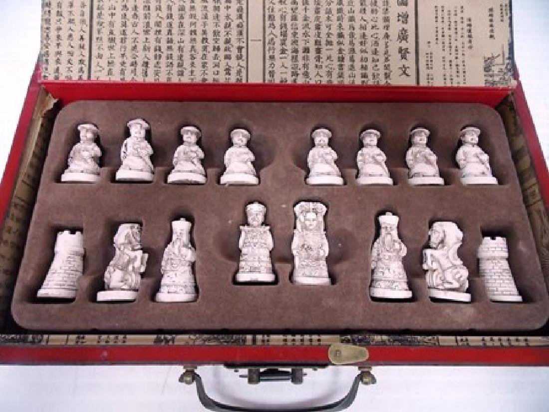 CHINESE MOTIF CHESS SET W/ FAUX IVORY PIECES - 6