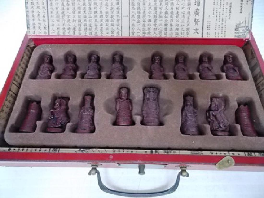 CHINESE MOTIF CHESS SET W/ FAUX IVORY PIECES - 7