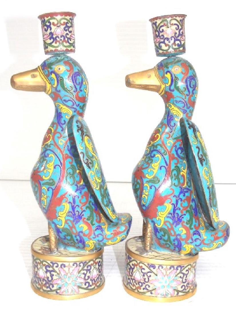 VINTAGE CHINESE CLOISONNE DUCK CANDLESTICKS W/ GOLD - 3