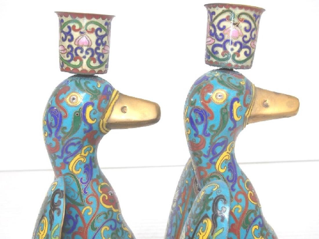 VINTAGE CHINESE CLOISONNE DUCK CANDLESTICKS W/ GOLD - 5