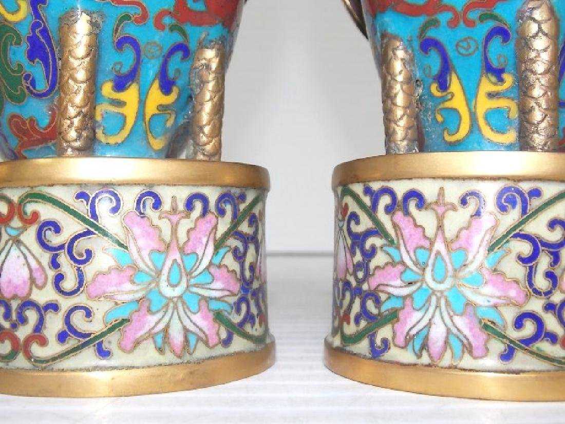 VINTAGE CHINESE CLOISONNE DUCK CANDLESTICKS W/ GOLD - 6
