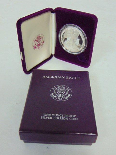 1986-S 1oz Silver American Eagle Proof Dollar w/COA