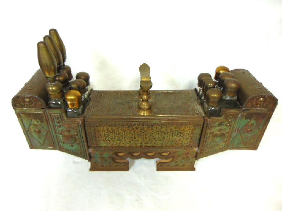 ANTIQUE TURKISH BRASS SHOE SHINE STAND