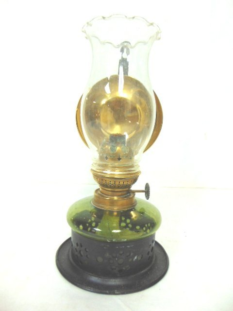 ANTIQUE KOSMOS & BRENNER REFLECTIVE OIL WALL MOUNT LAMP - 2