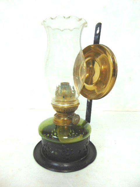 ANTIQUE KOSMOS & BRENNER REFLECTIVE OIL WALL MOUNT LAMP - 3