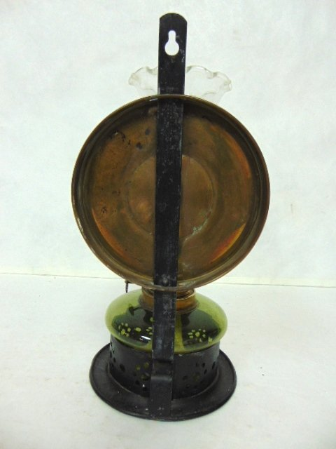 ANTIQUE KOSMOS & BRENNER REFLECTIVE OIL WALL MOUNT LAMP - 4