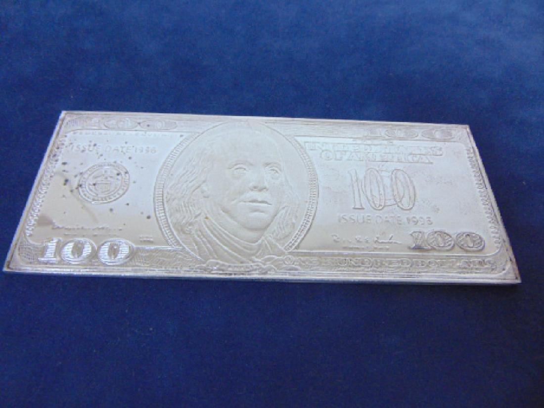 1996 4 TROY OUNCE SILVER FRANKLIN $100 BILL BAR