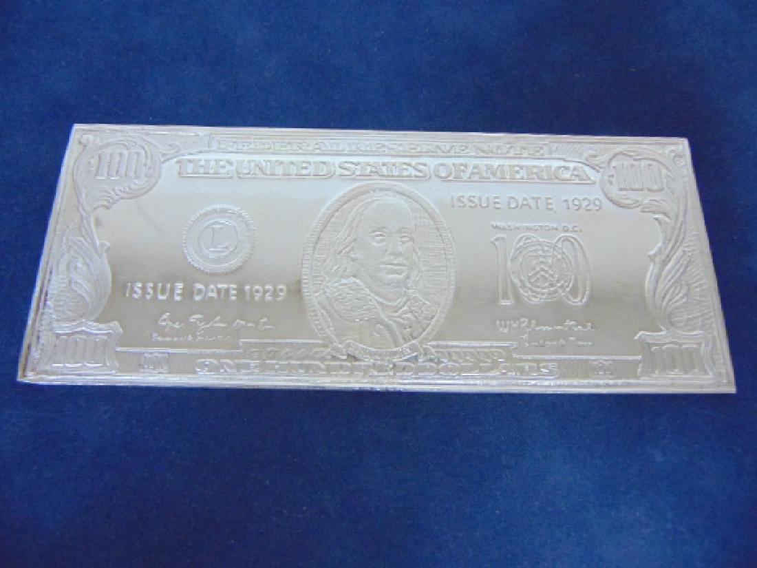1996 4 TROY OUNCE SILVER FRANKLIN $100 BILL BAR - 2